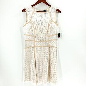 nwt| Gabby Skye White & Tan Lace Fit & Flare Dress